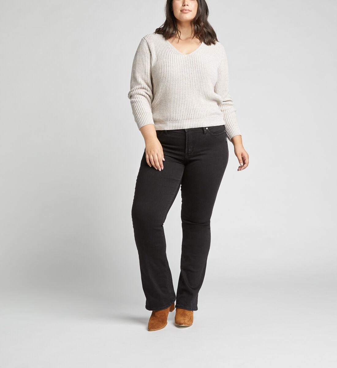Suki Mid Rise Slim Bootcut Jeans Plus Size,Black Front