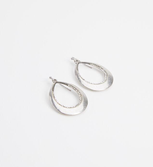 Silver-Tone Teardrop Statement Earrings