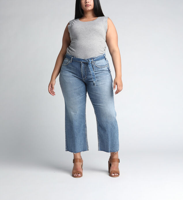 Tied and Wide High Rise Wide Leg Jeans