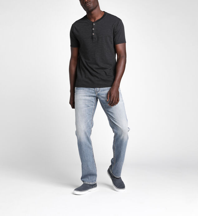 Koby Short-Sleeve Slub Henley Tee, Black, hi-res