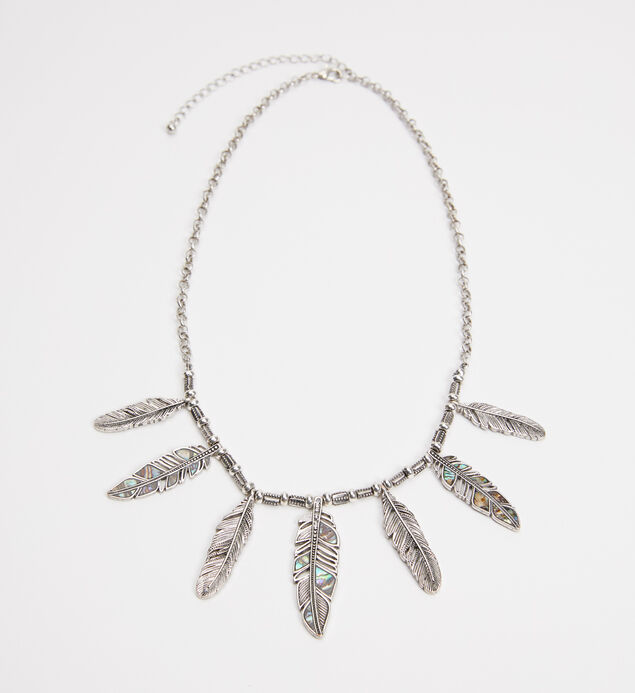Silver-Tone Feather Statement Necklace
