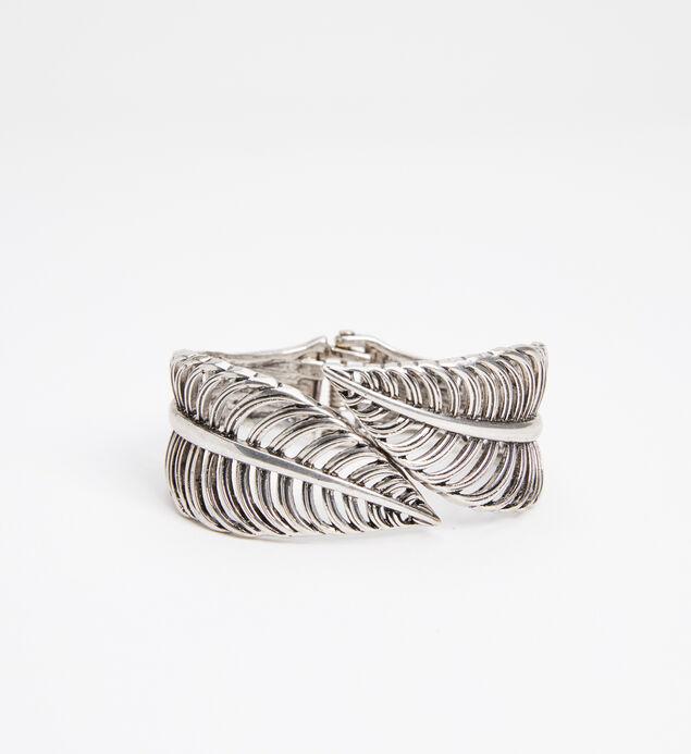 Silver-Tone Feather Cuff Bracelet