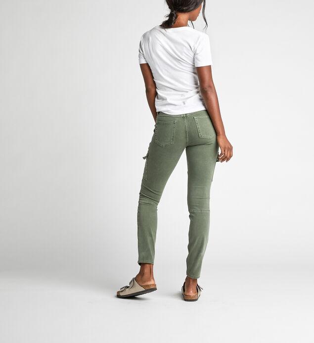 Skinny Cargo Mid Rise Skinny Leg Pants, Olive, hi-res
