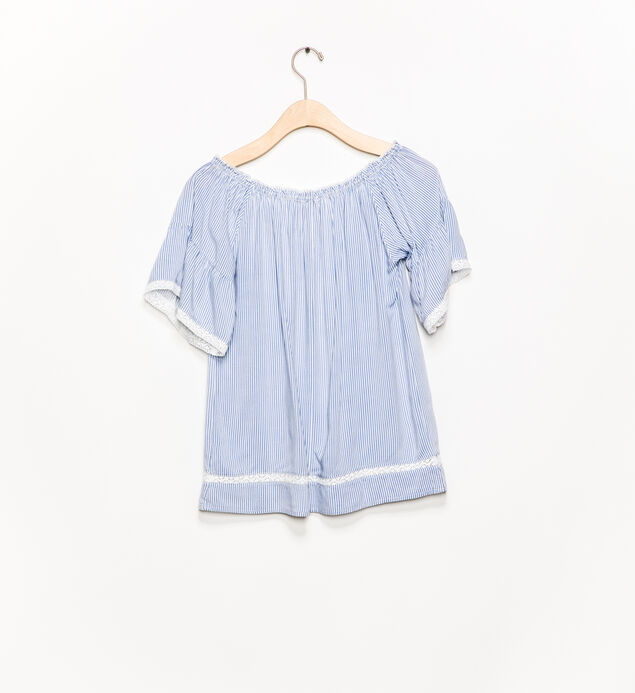 Short-Sleeve Tie-Neck Blouse (7-16), , hi-res