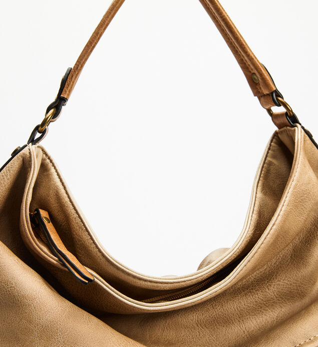 Top-Zip Textured Hobo