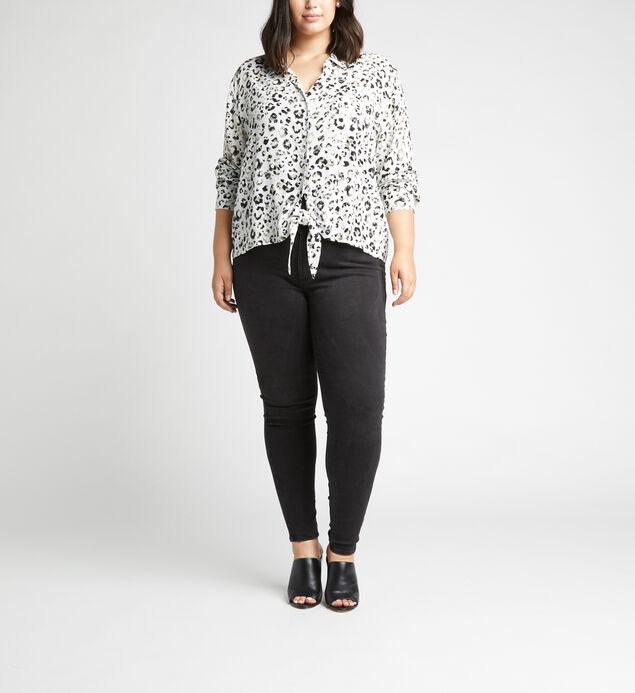 Sanya Tie-Front Leopard-Print Shirt Plus Size, Off White, hi-res