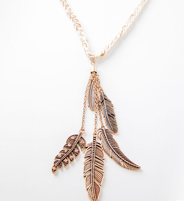 Gold-Tone Braided Feather Necklace, , hi-res