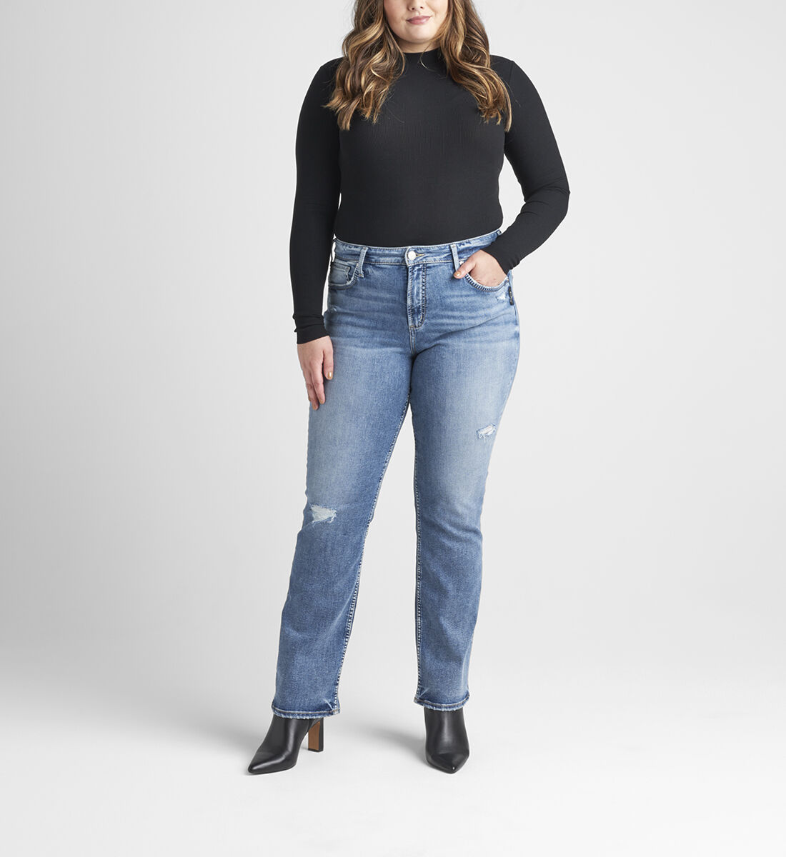 Avery High Rise Slim Bootcut Jeans Plus Size Front