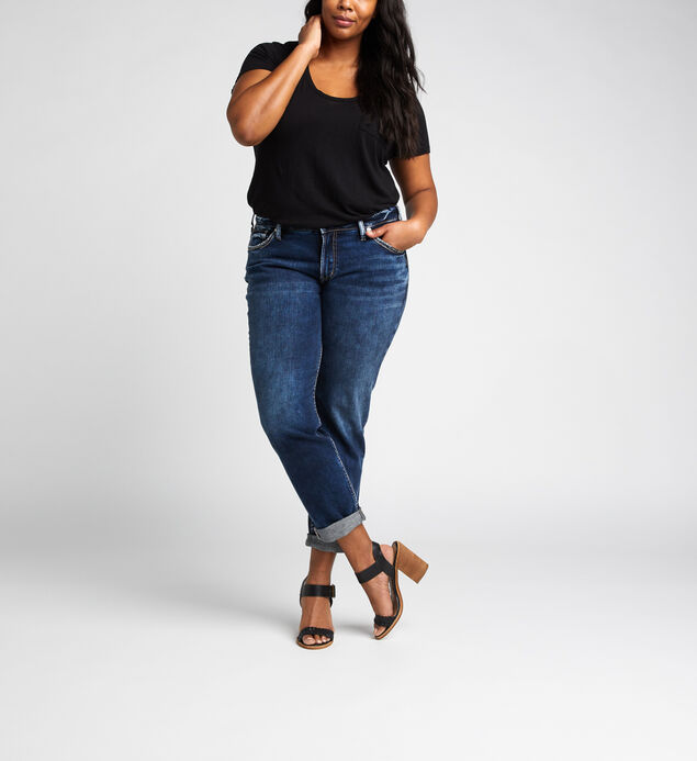Boyfriend Mid Rise Slim Leg Jeans Plus Size