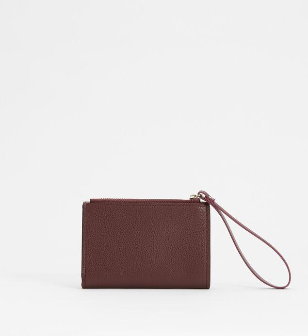 Small Flap Wristlet Wallet, Plum, hi-res
