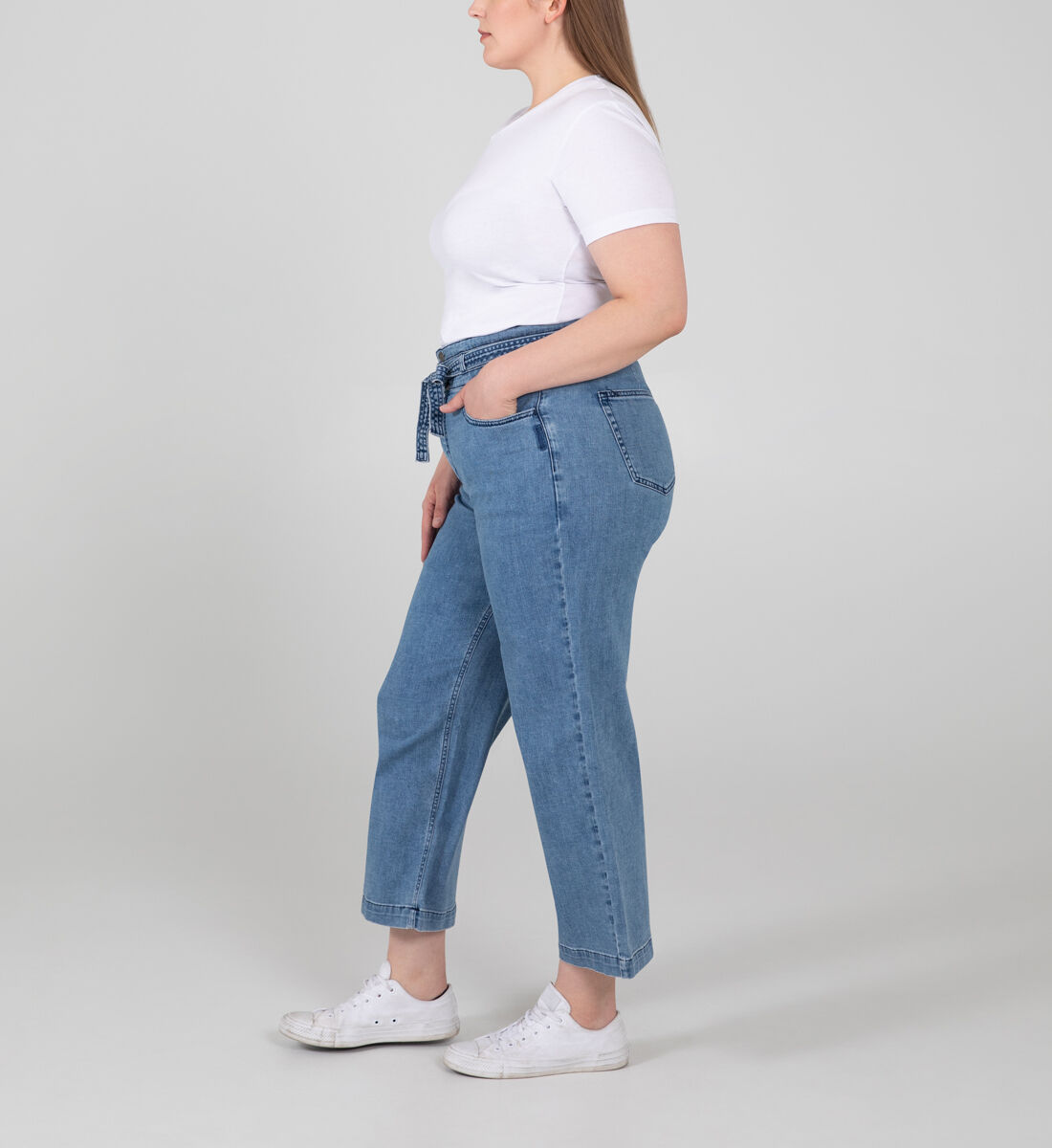 Belted High Rise Wide Leg Crop Jeans Plus Size Side