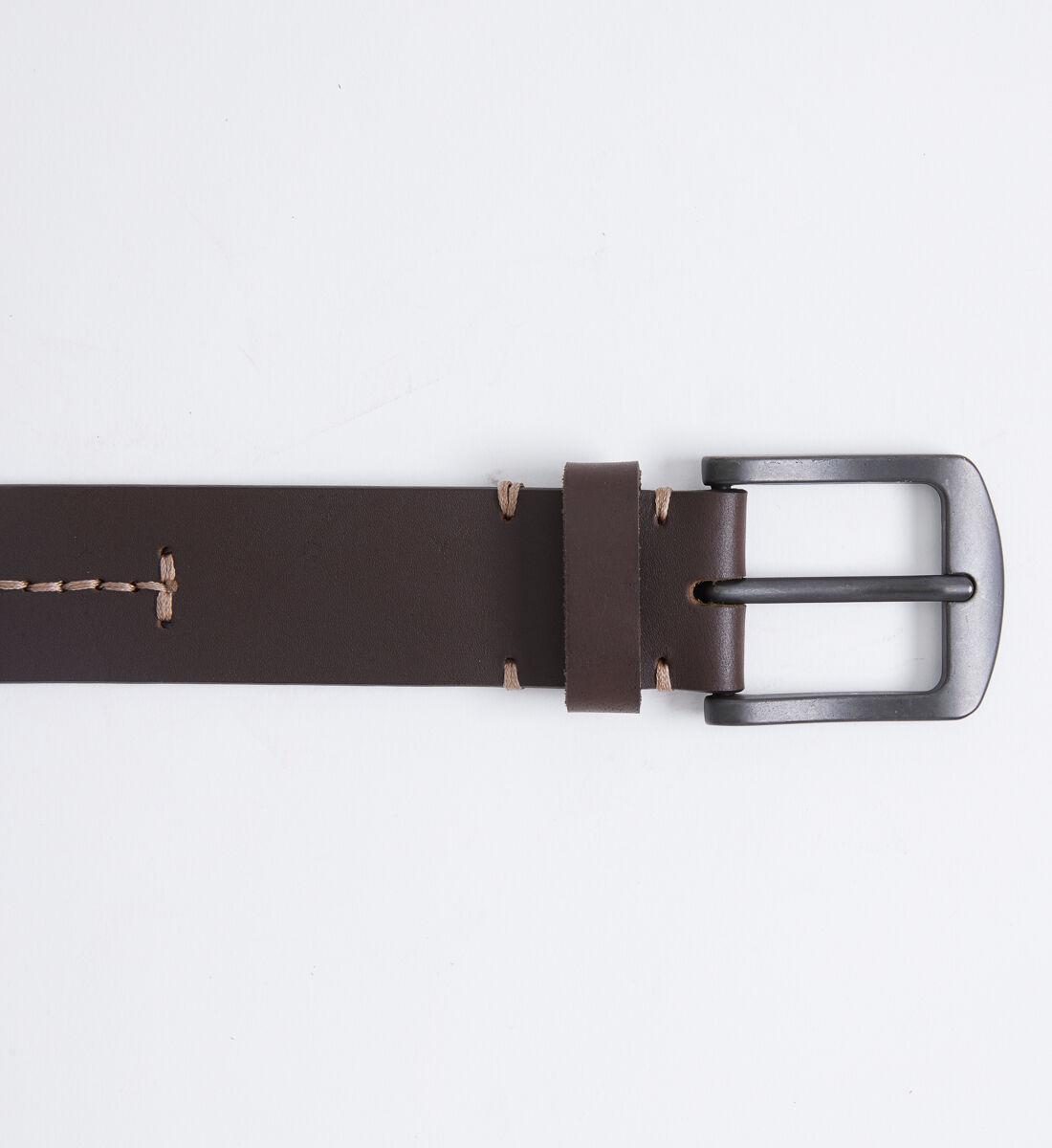 Contrast Stitch Leather Mens Belt Front