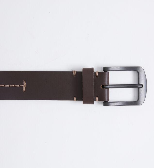 Contrast Stitch Leather Mens Belt