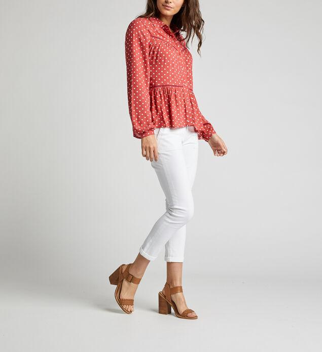 Sara Polka-Dot Babydoll Shirt, Red, hi-res
