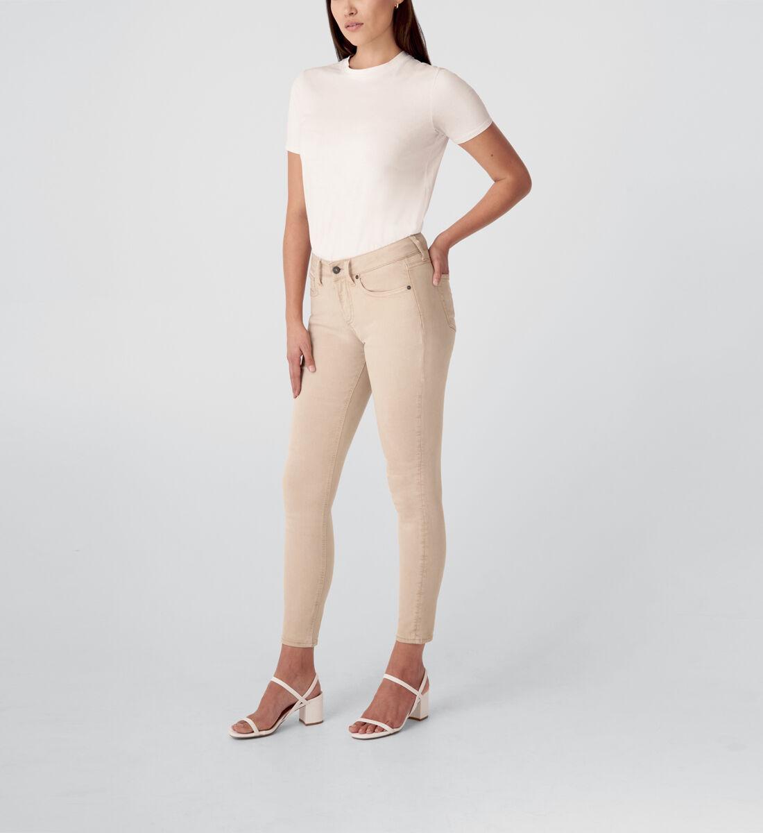 Suki Mid Rise Skinny Jeans,Tan Side