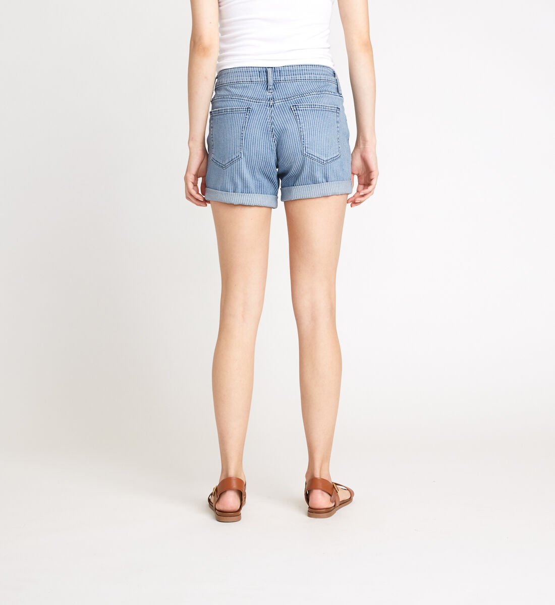 Boyfriend Mid Rise Pinstripe Shorts Back