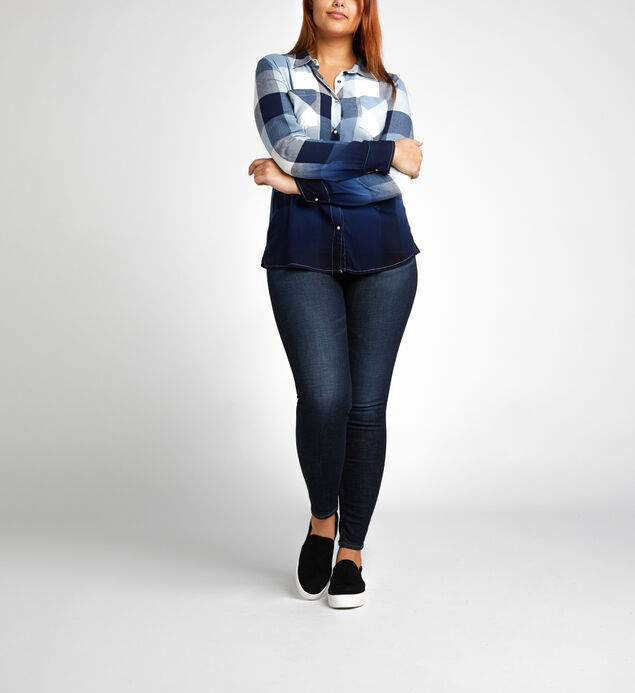 Vivian Long-Sleeve Plaid Shirt, Navy, hi-res