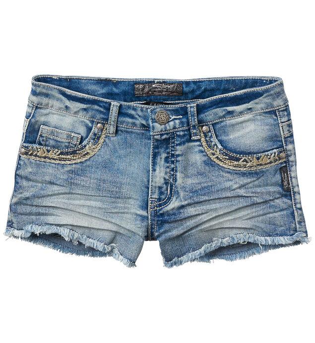 Lacy Cutoff Denim Shorts in Bleach Wash (7-16)