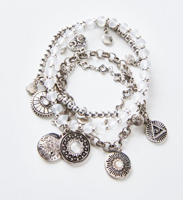 Silver-Tone Charm Bracelet Set