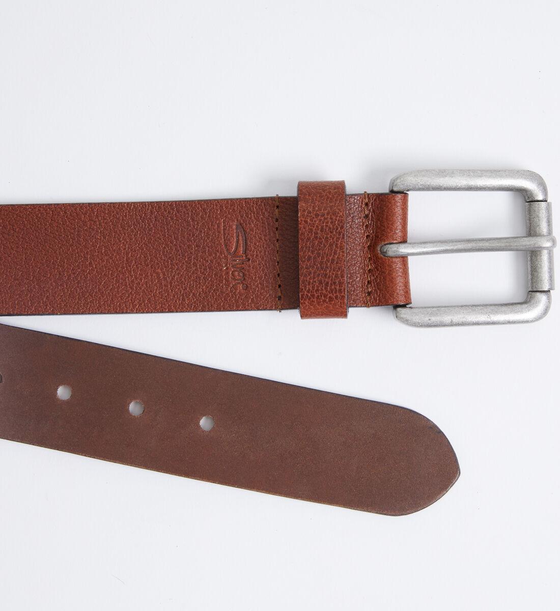 Pebbled Brown Leather Mens Belt Side