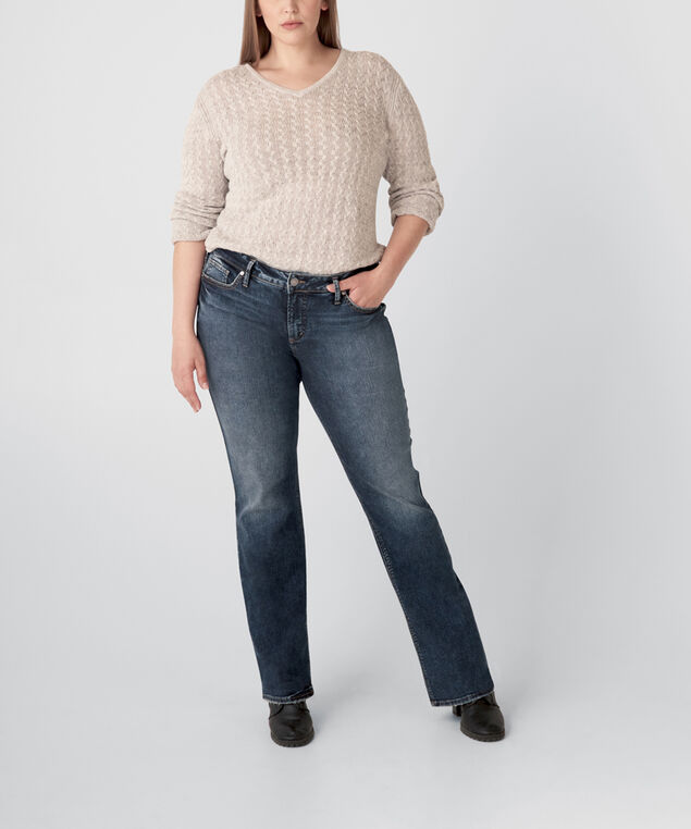 Elyse Mid Rise Slim Bootcut Jeans Plus Size