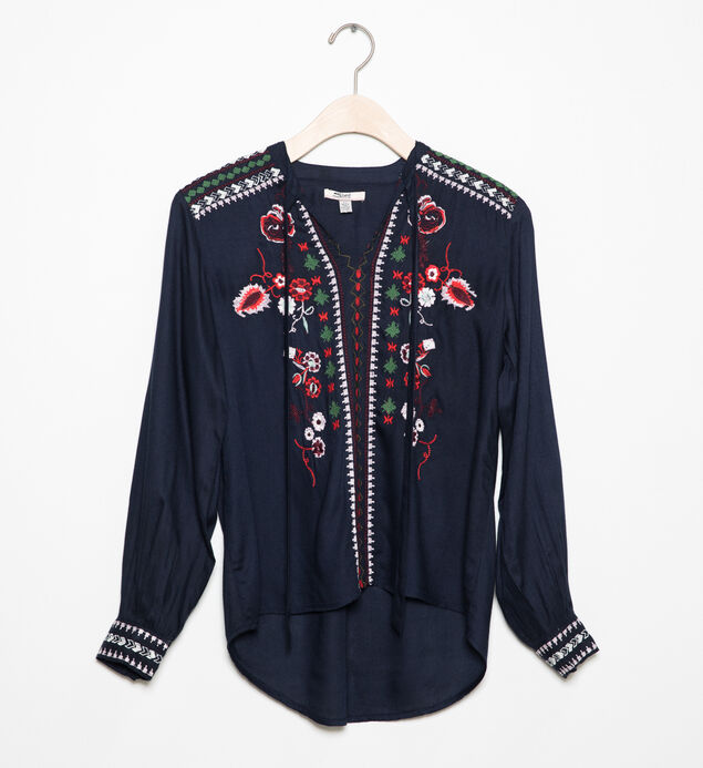 Long-Sleeve Embroidered Peasant Top (7-16)