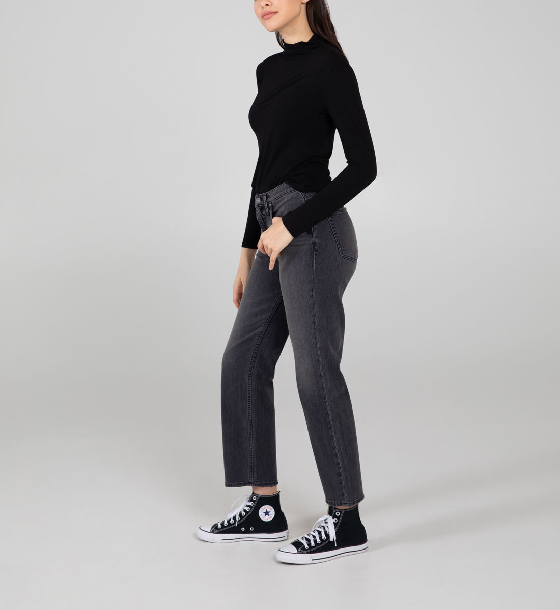 Frisco High Rise Straight Leg Jeans Side