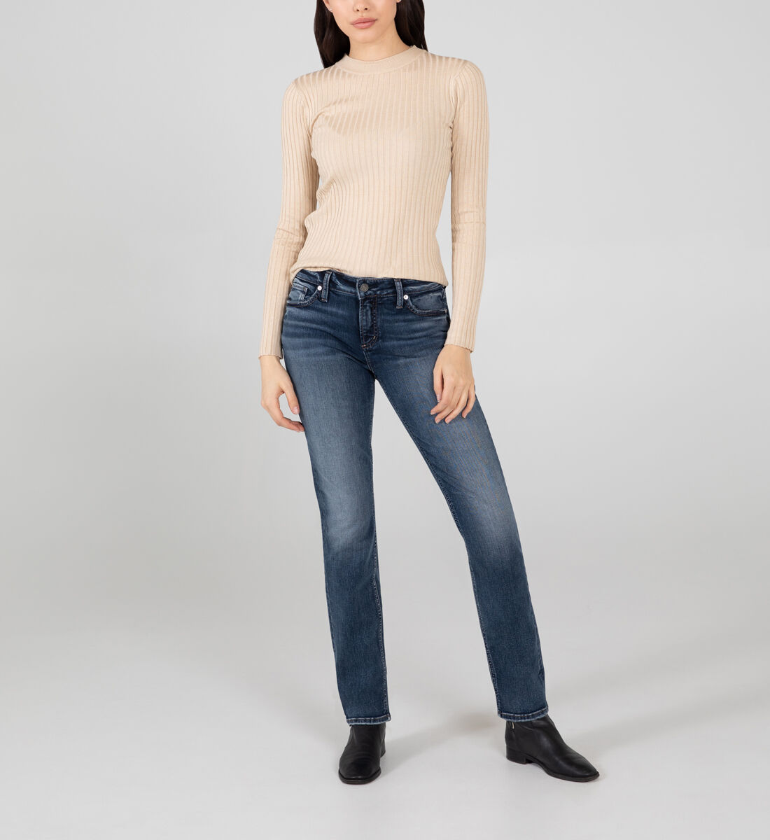 Elyse Mid Rise Straight Leg Jeans Front