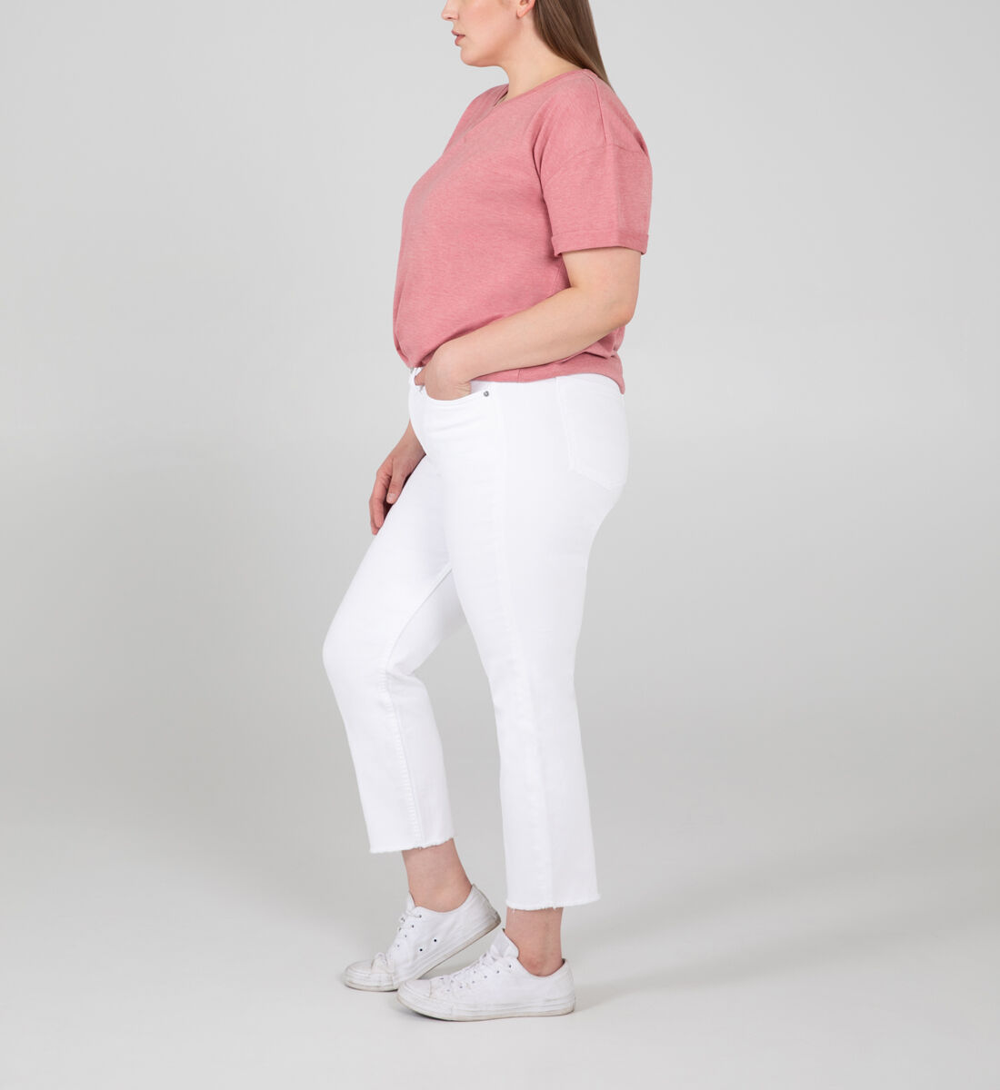 Most Wanted Mid Rise Straight Crop Jeans Plus Size Side