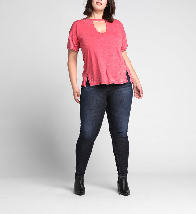 Celeste Cutout V Loose-Fit Tee, Red, hi-res