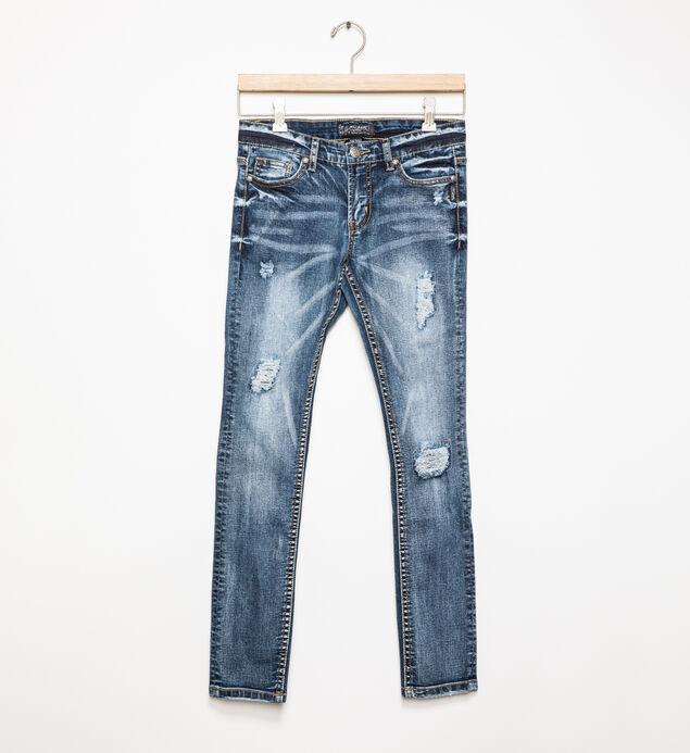 Sasha Medium-Wash Distressed Skinny Jeans (7-16)