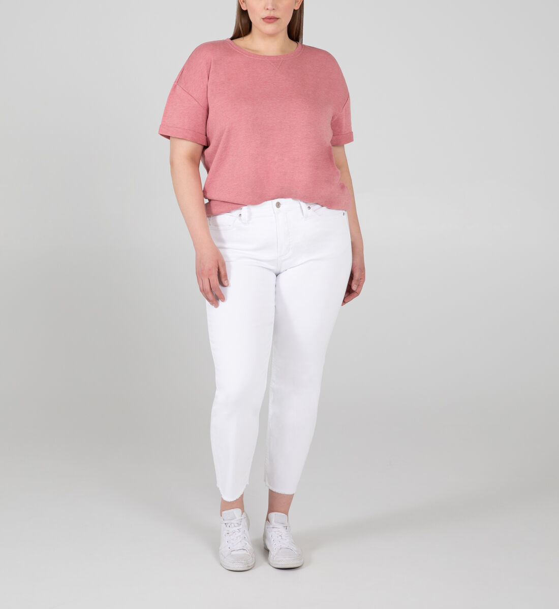 Most Wanted Mid Rise Straight Crop Jeans Plus Size Front
