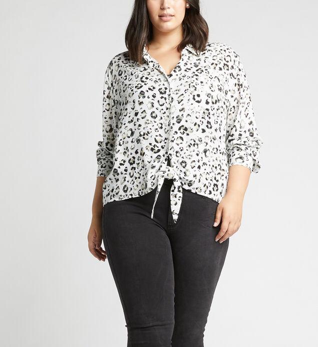 Sanya Tie-Front Leopard-Print Shirt Plus Size