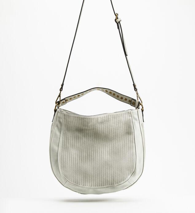Textured Hobo Crossbody Bag, White, hi-res