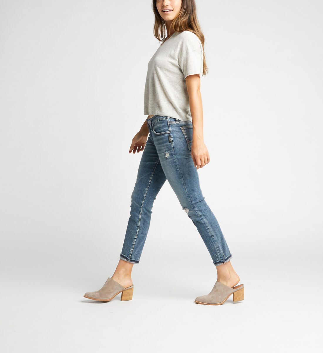 Boyfriend Mid Rise Slim Leg Jeans Side