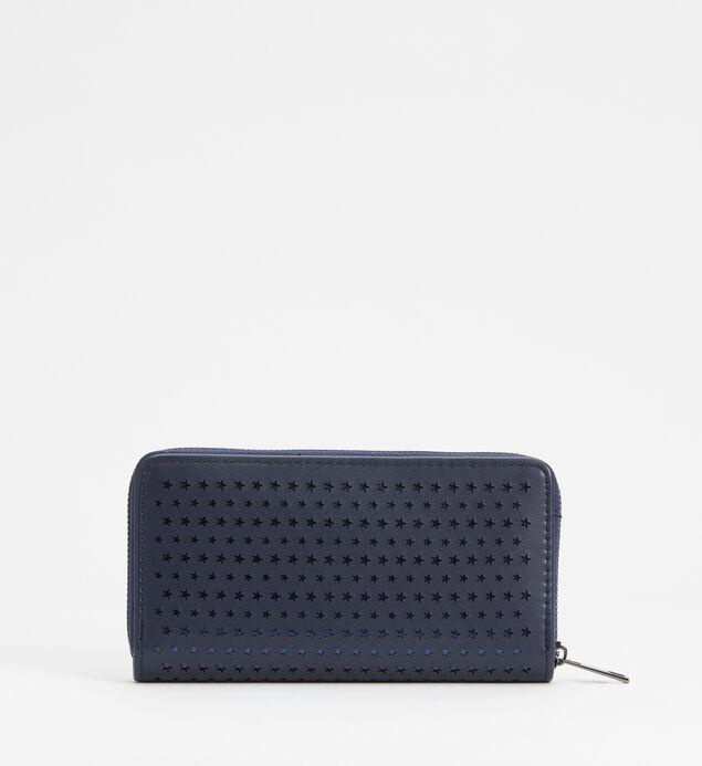 Zip-Around Laser-Cut Star Wallet, Navy Blue, hi-res