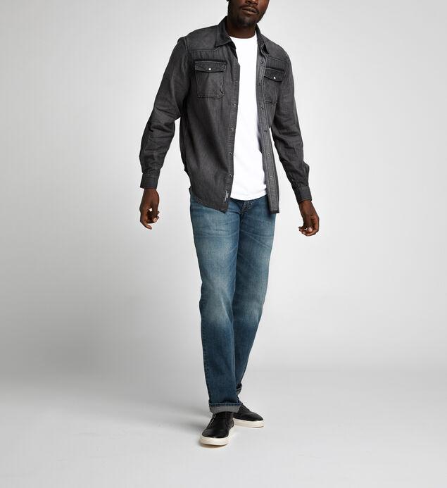 Charles Classic Denim Shirt, Black, hi-res
