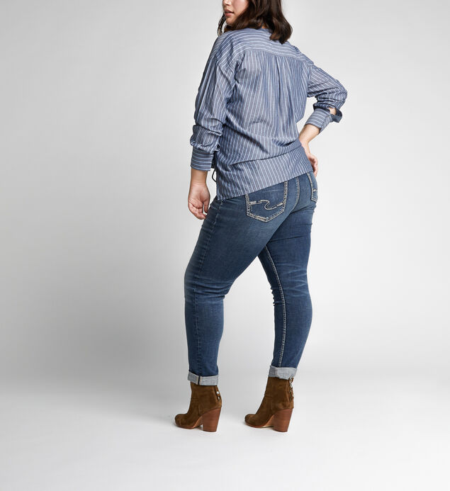 Slim Leg Mid Rise Boyfriend Dark Wash, , hi-res