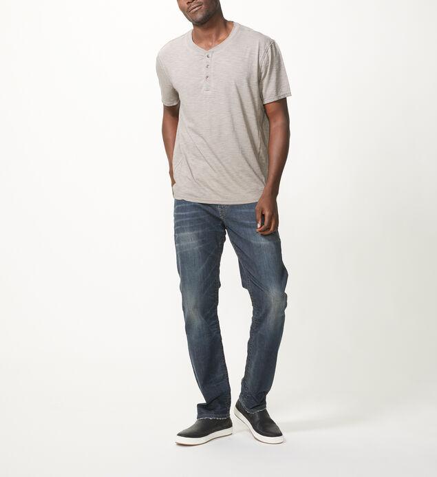 Koby Short-Sleeve Henley, Grey, hi-res