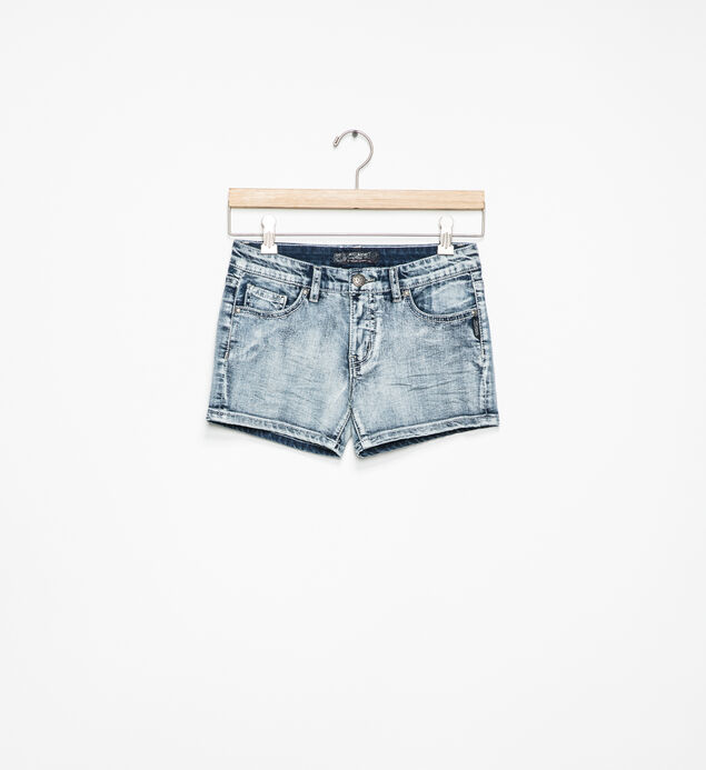 Lacy Light-Wash Denim Shorts (7-16)