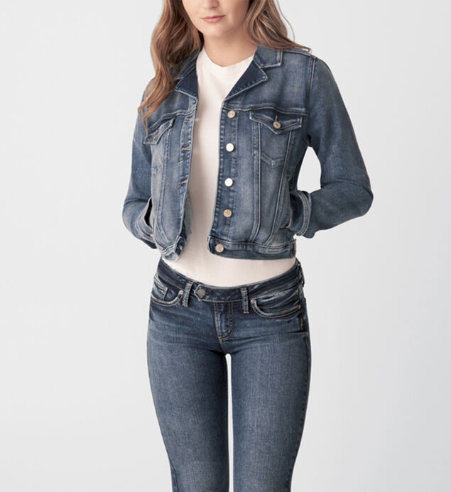 Notched Crop Denim Jacket