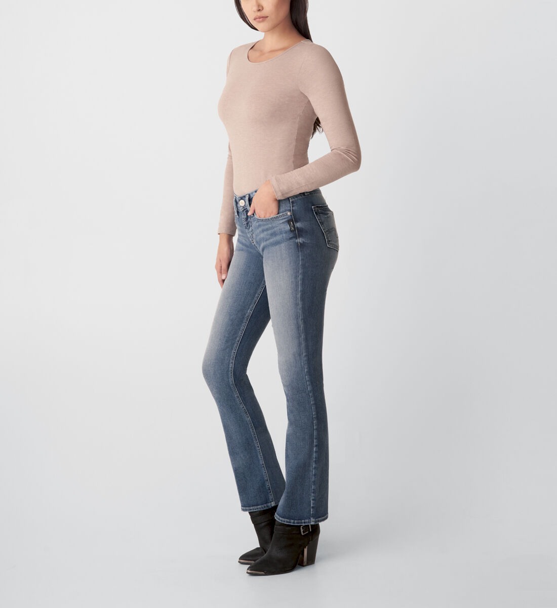 Suki Mid Rise Slim Bootcut Jeans Side