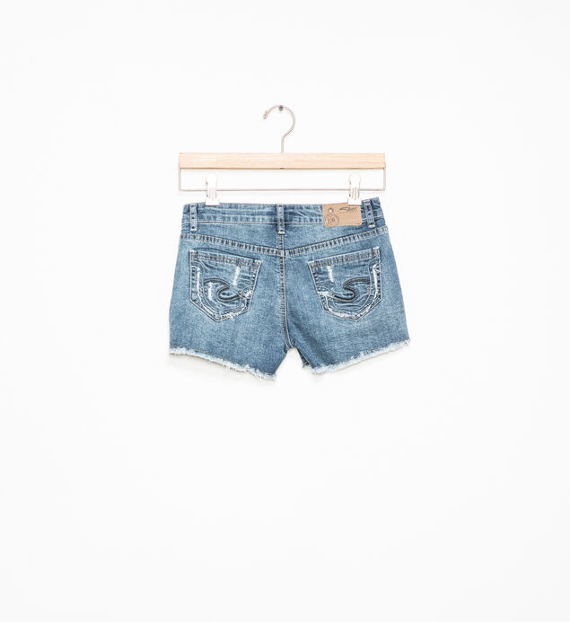 Lacy Frayed Denim Shorts (7-16), , hi-res