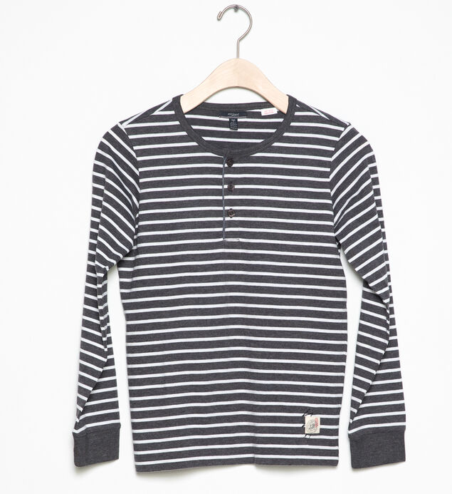 Long-Sleeve Striped Henley (4-7)