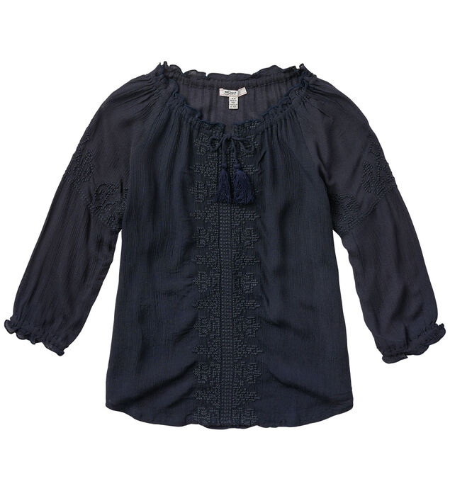 Three Quarter-Sleeve Embroidered Blouse (4-7)
