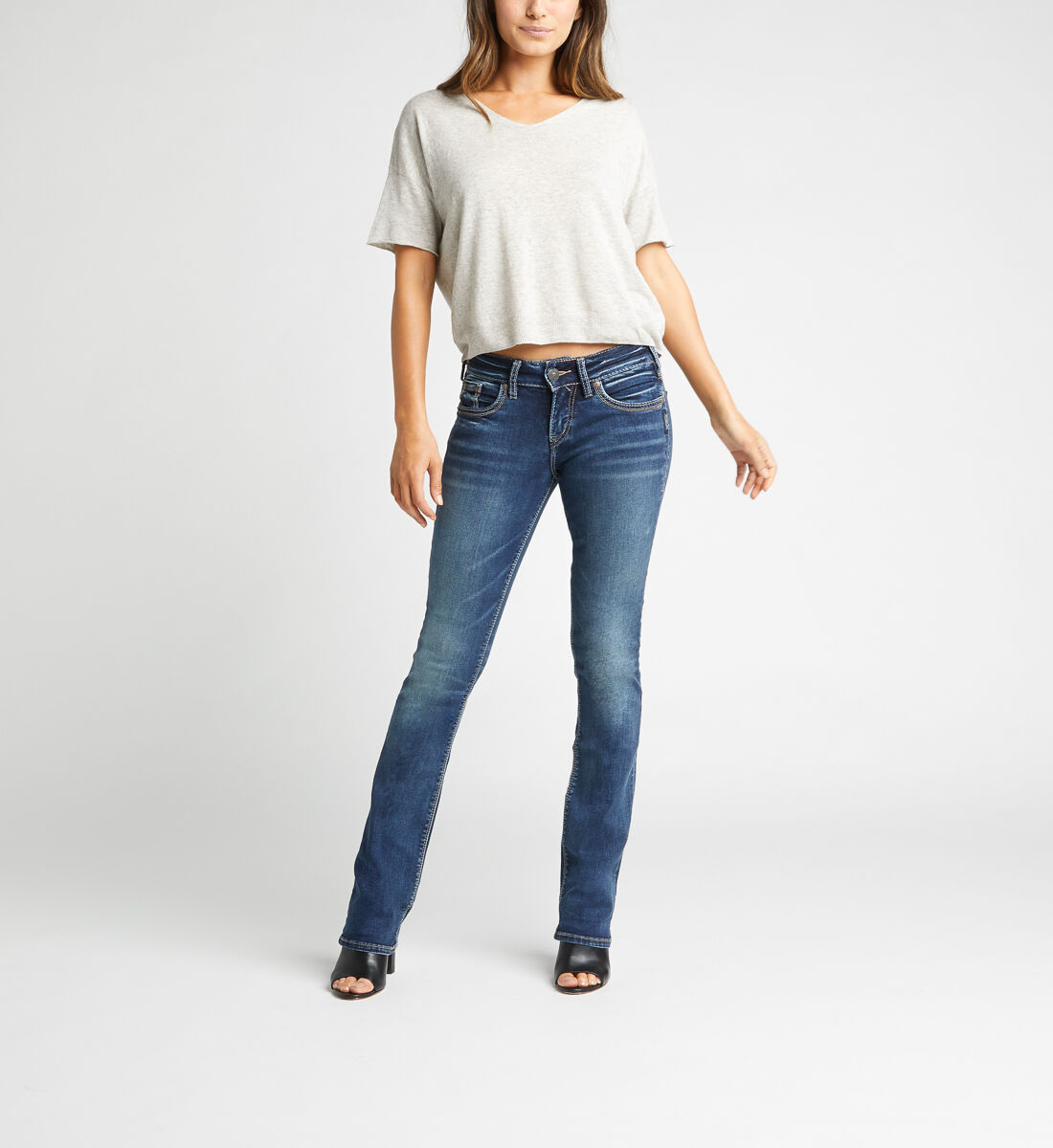 Suki Mid Rise Slim Bootcut Jeans,Indigo Alt Image 1