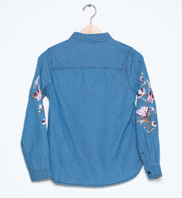 Long-Sleeve Embroidered Denim Shirt (7-16), , hi-res