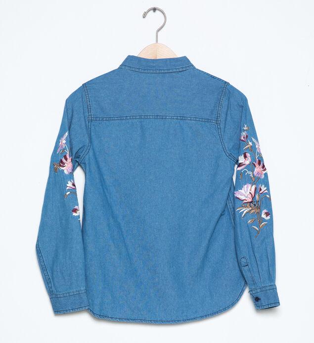 Long-Sleeve Embroidered Denim Shirt (4-7), , hi-res