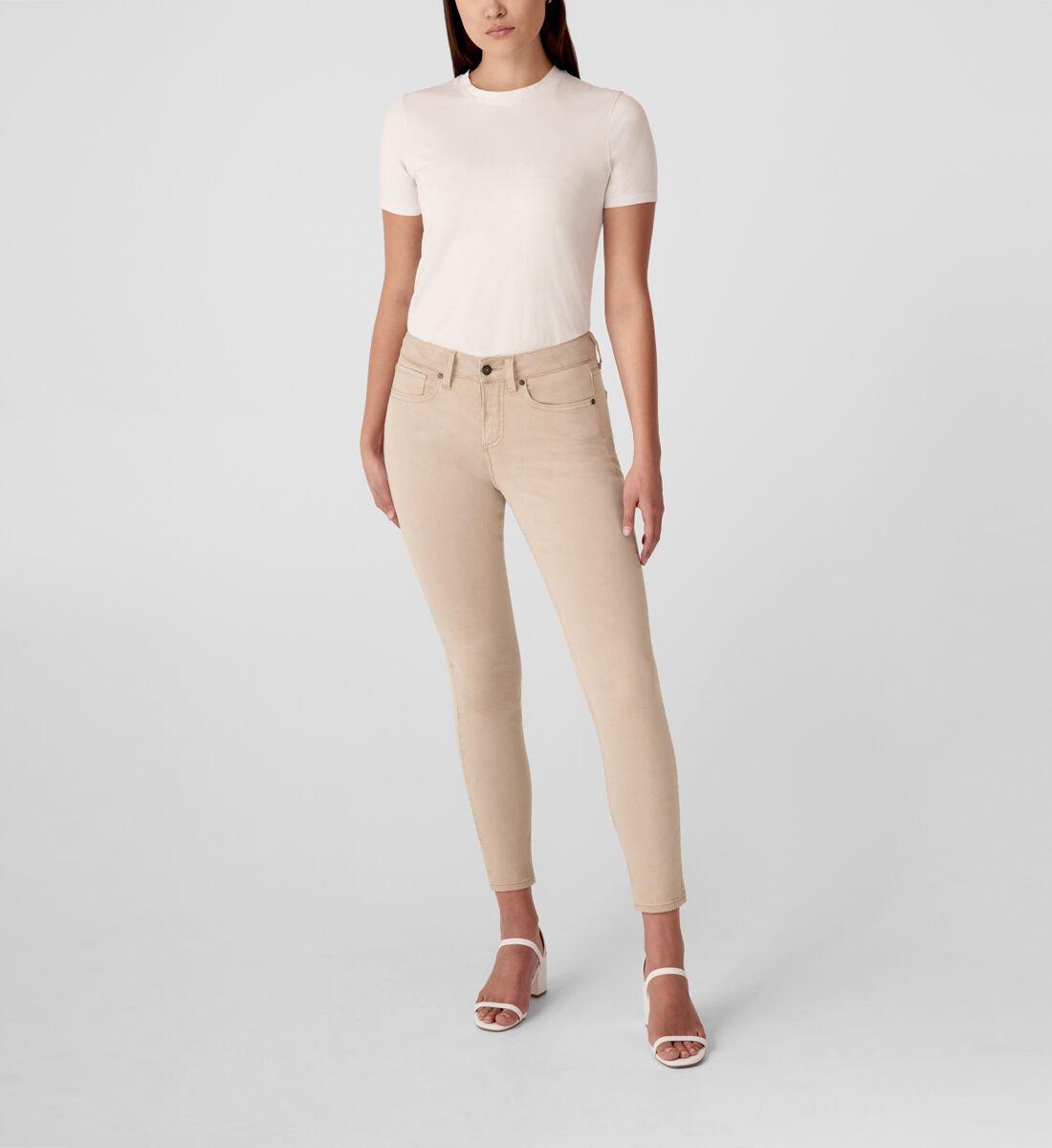 Suki Mid Rise Skinny Jeans,Tan Front