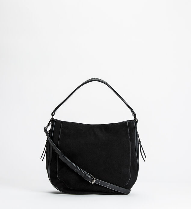 Mixed-Material Top-Zip Hobo
